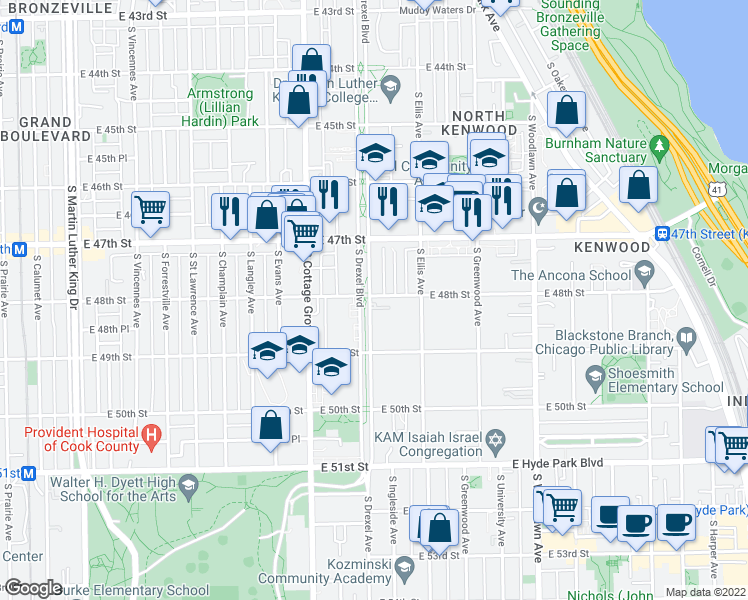 map of restaurants, bars, coffee shops, grocery stores, and more near 4805 South Drexel Boulevard in Chicago