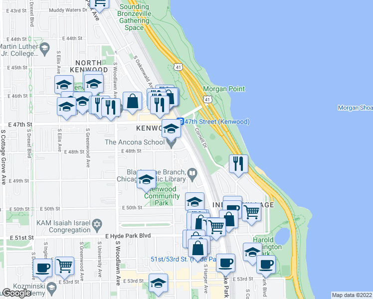 map of restaurants, bars, coffee shops, grocery stores, and more near 4800 South Lake Park Avenue in Chicago
