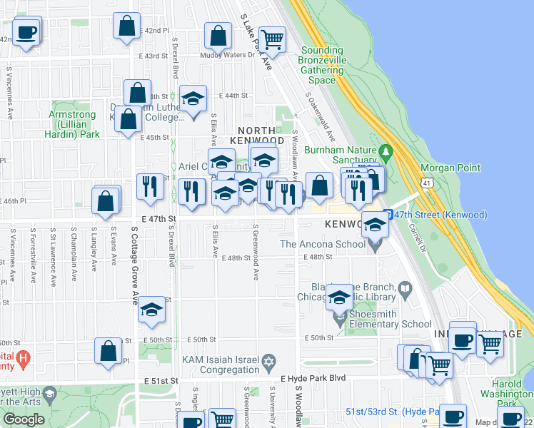 map of restaurants, bars, coffee shops, grocery stores, and more near 1113 E 47th St in Chicago