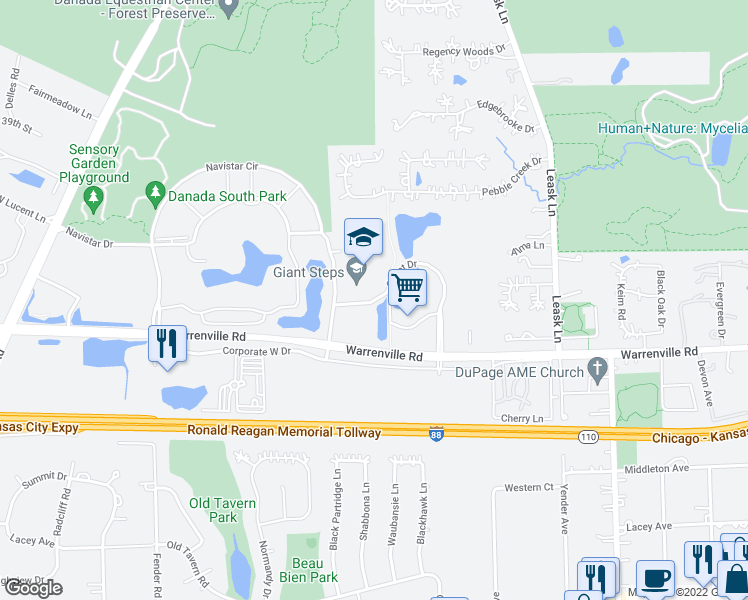 map of restaurants, bars, coffee shops, grocery stores, and more near 2501-2525 Cabot Drive in Lisle