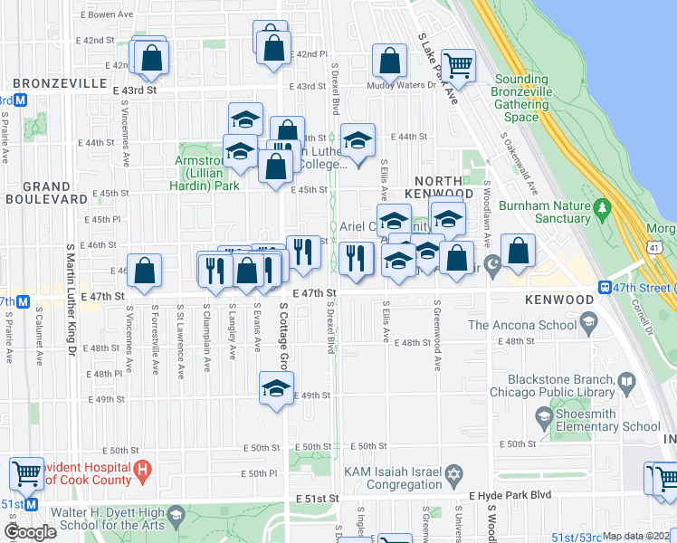 map of restaurants, bars, coffee shops, grocery stores, and more near 4610 S Drexel Blvd in Chicago