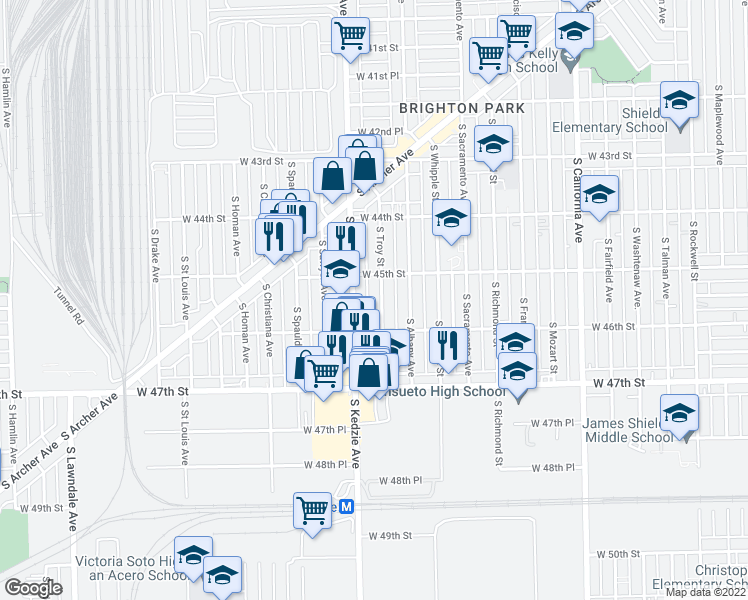 map of restaurants, bars, coffee shops, grocery stores, and more near 4526 South Troy Street in Chicago