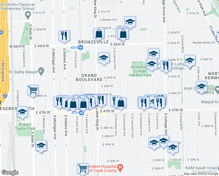 map of restaurants, bars, coffee shops, grocery stores, and more near 439 East 45th Street in Chicago