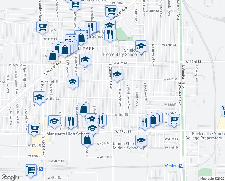 map of restaurants, bars, coffee shops, grocery stores, and more near 4435 South California Avenue in Chicago