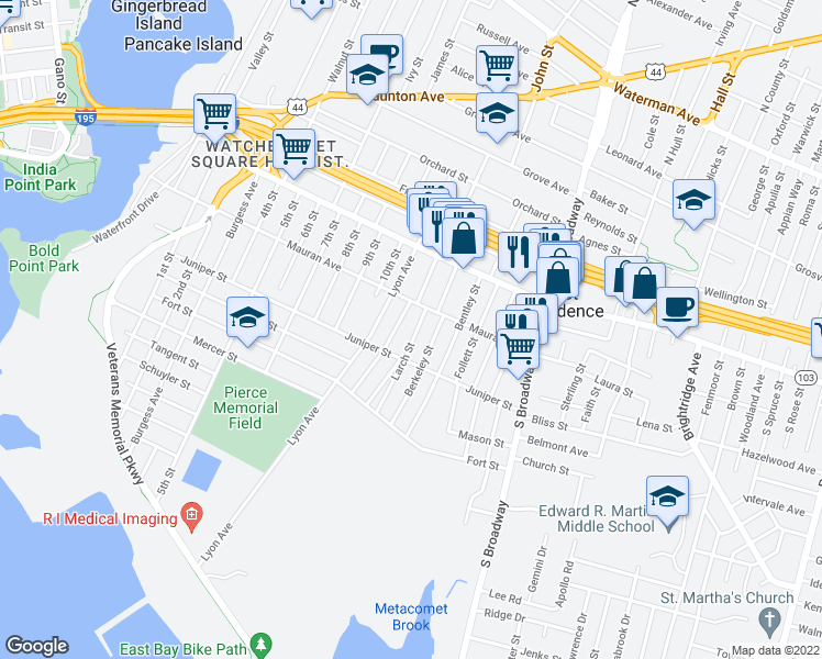 map of restaurants, bars, coffee shops, grocery stores, and more near 25 Larch St in East Providence