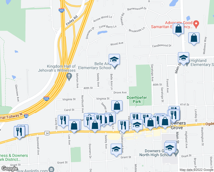 map of restaurants, bars, coffee shops, grocery stores, and more near in Downers Grove