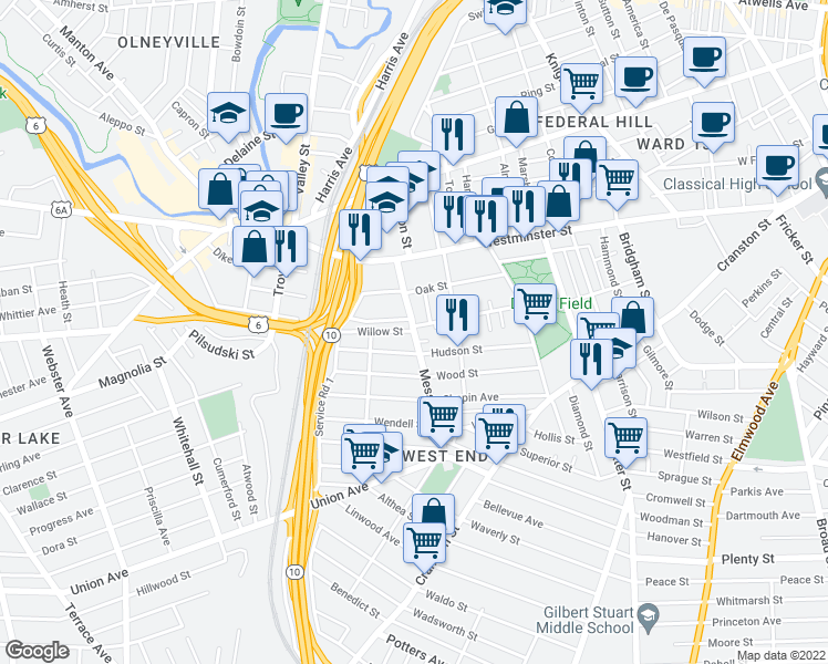 map of restaurants, bars, coffee shops, grocery stores, and more near Messer St & Willow St in Providence