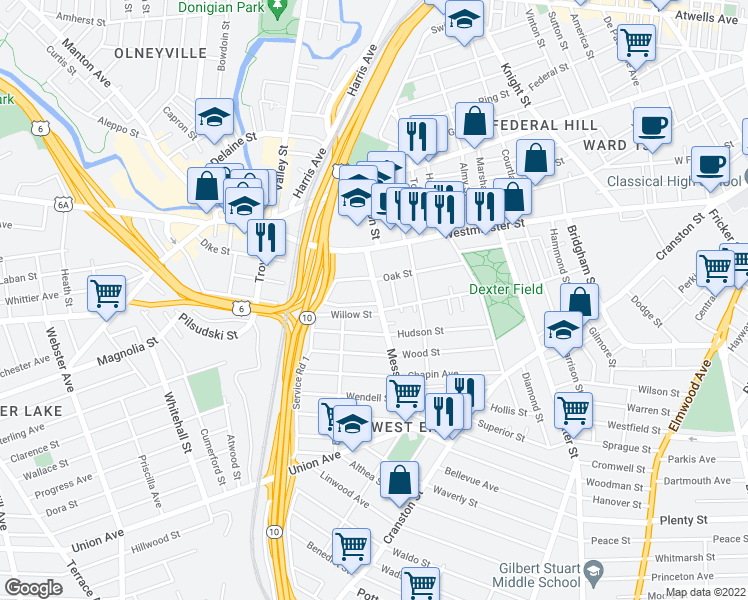 map of restaurants, bars, coffee shops, grocery stores, and more near 59 Messer Street in Providence