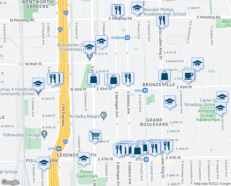 map of restaurants, bars, coffee shops, grocery stores, and more near 4316 South Michigan Avenue in Chicago