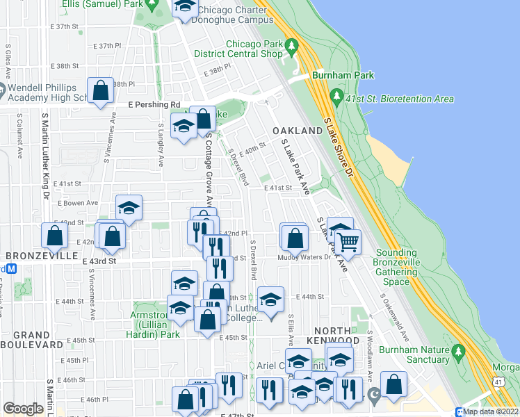 map of restaurants, bars, coffee shops, grocery stores, and more near 4127 South Drexel Boulevard in Chicago