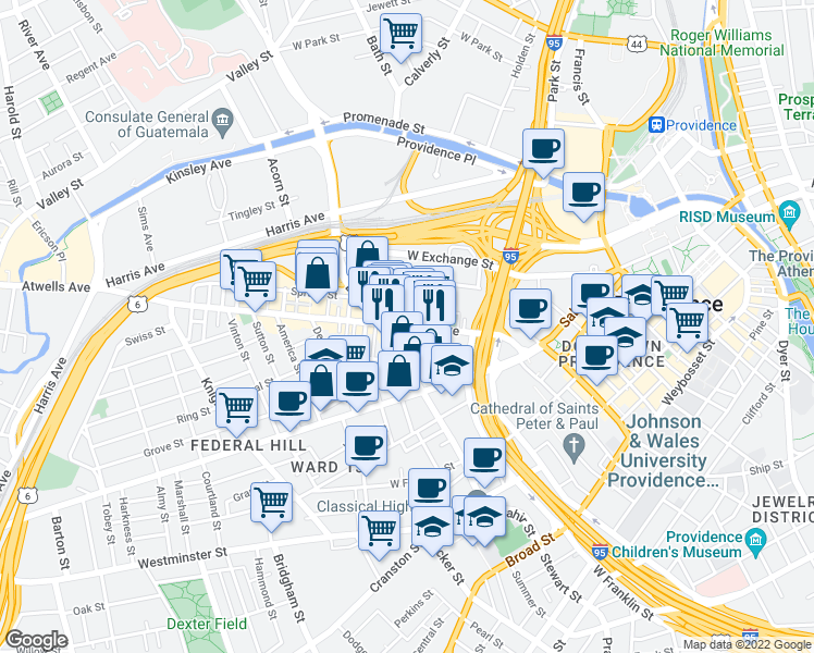 map of restaurants, bars, coffee shops, grocery stores, and more near Atwells Ave & Bond St in Providence