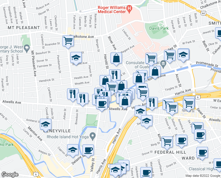 map of restaurants, bars, coffee shops, grocery stores, and more near 53655 Ericson Place in Providence
