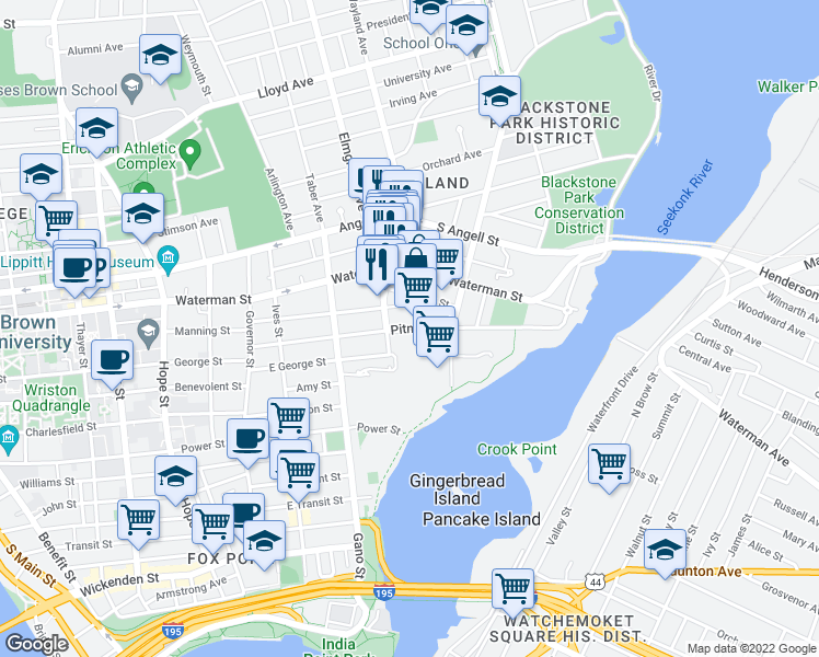 map of restaurants, bars, coffee shops, grocery stores, and more near Pitman Street in Providence