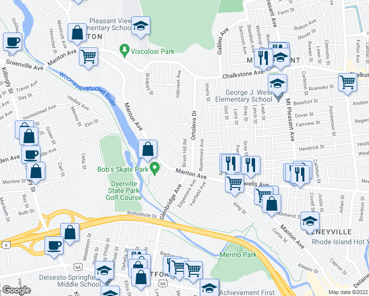 map of restaurants, bars, coffee shops, grocery stores, and more near Brush Hill Rd in Providence
