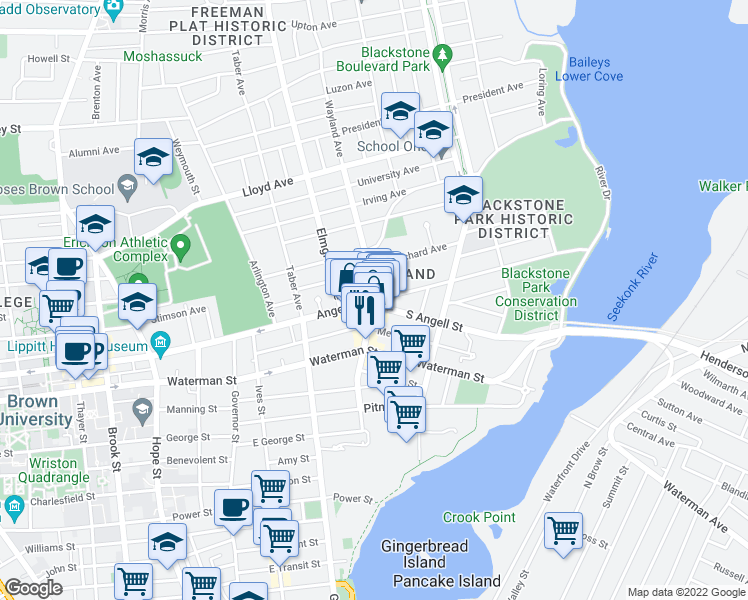 map of restaurants, bars, coffee shops, grocery stores, and more near Angell St & Wayland Ave in Providence