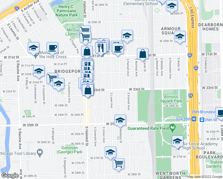 map of restaurants, bars, coffee shops, grocery stores, and more near South Lowe Avenue & West 33rd Street in Chicago