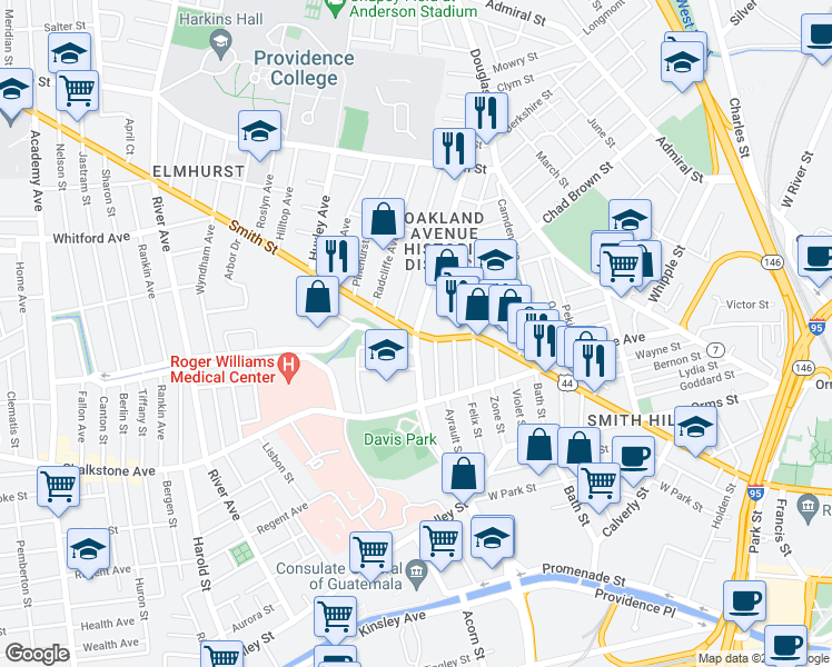 map of restaurants, bars, coffee shops, grocery stores, and more near Smith St & Oakland Ave in Providence