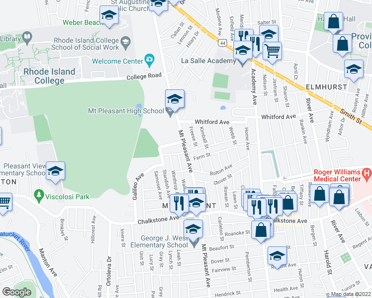 map of restaurants, bars, coffee shops, grocery stores, and more near 366 Mount Pleasant Avenue in Providence