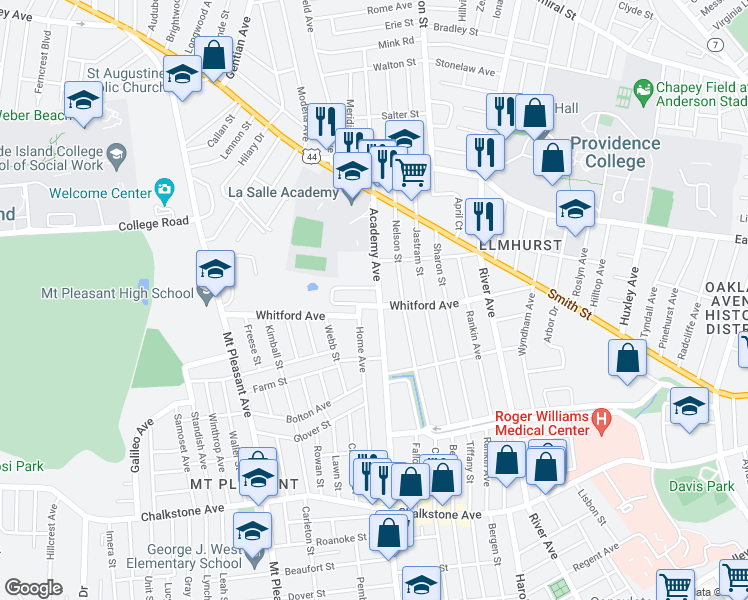 map of restaurants, bars, coffee shops, grocery stores, and more near 528 Academy Ave in Providence
