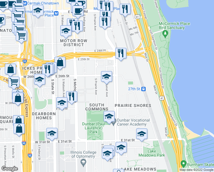 map of restaurants, bars, coffee shops, grocery stores, and more near 2610-2822 S Calumet Ave in Chicago