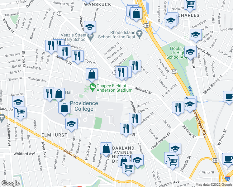 map of restaurants, bars, coffee shops, grocery stores, and more near Ceres Street in Providence