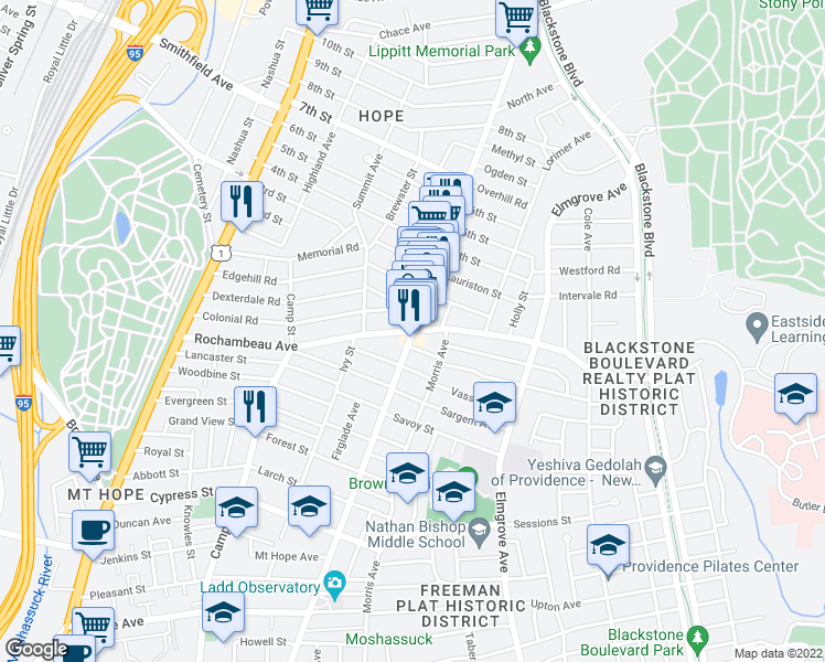 map of restaurants, bars, coffee shops, grocery stores, and more near Hope Street & Rochambeau Avenue in Providence