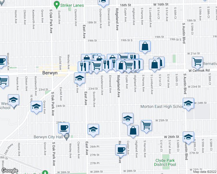 map of restaurants, bars, coffee shops, grocery stores, and more near in Berwyn