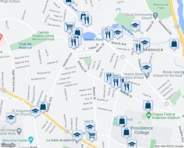 map of restaurants, bars, coffee shops, grocery stores, and more near 15 East Drive in Providence