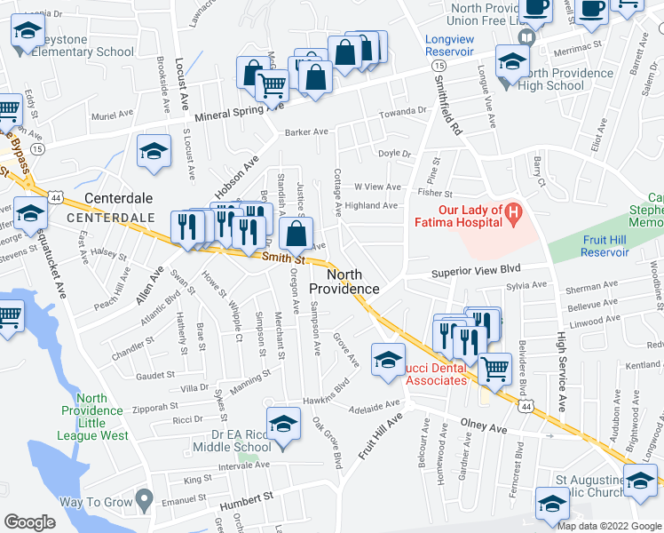 map of restaurants, bars, coffee shops, grocery stores, and more near 15-63 Cottage Avenue in North Providence