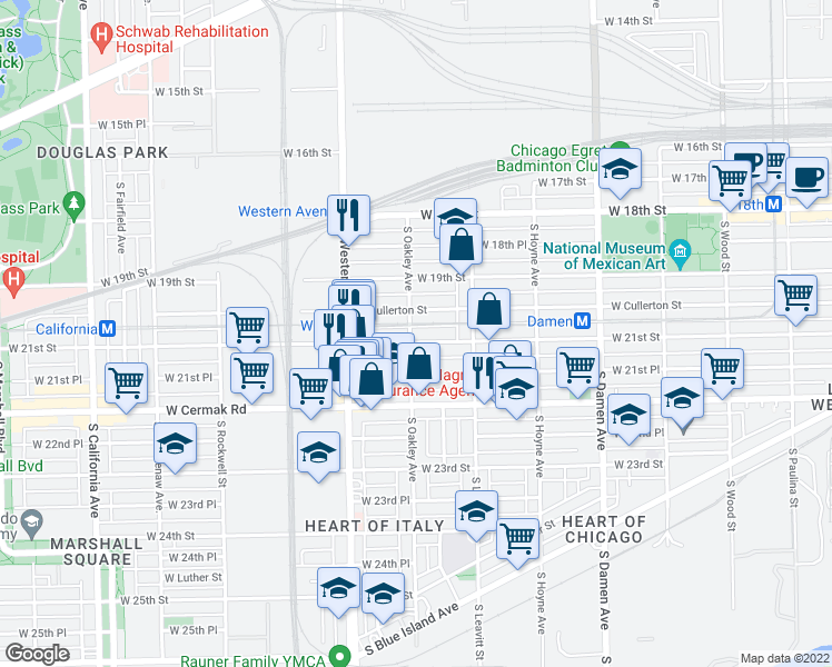 map of restaurants, bars, coffee shops, grocery stores, and more near 2256 W 21st St in Chicago