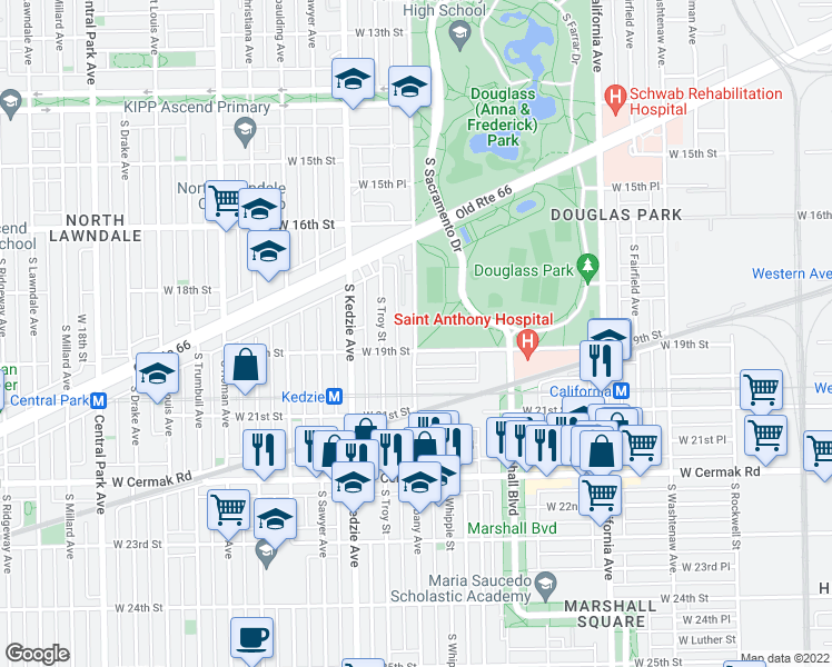 map of restaurants, bars, coffee shops, grocery stores, and more near 1845 S Troy St in Chicago
