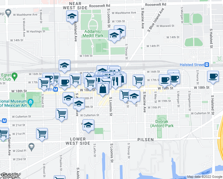 map of restaurants, bars, coffee shops, grocery stores, and more near West 18th Street & South Blue Island Avenue in Chicago