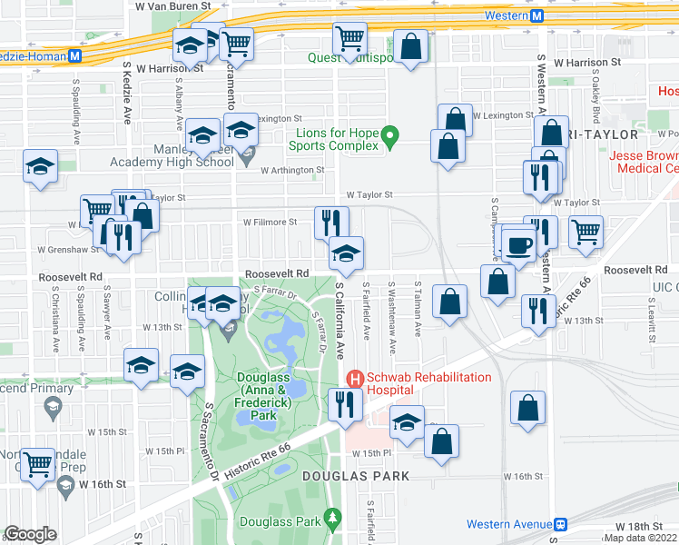 map of restaurants, bars, coffee shops, grocery stores, and more near W Roosevelt Rd & S California Ave in Chicago