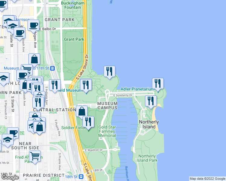 map of restaurants, bars, coffee shops, grocery stores, and more near Lakefront Trail in Chicago