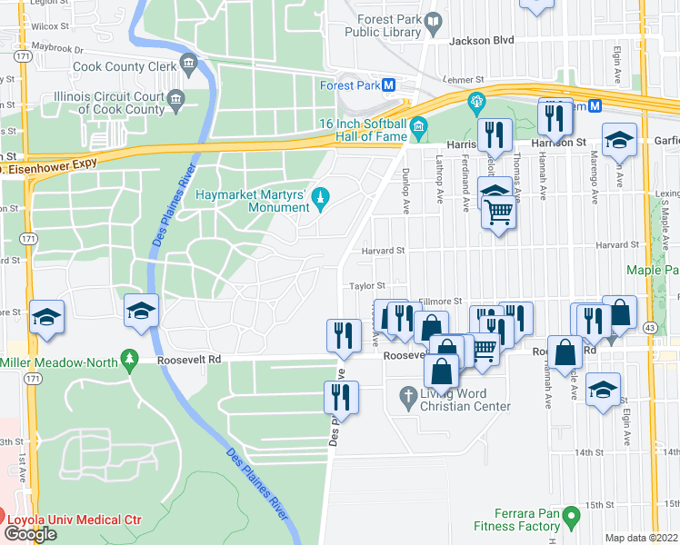 map of restaurants, bars, coffee shops, grocery stores, and more near 506 Des Plaines Avenue in Forest Park