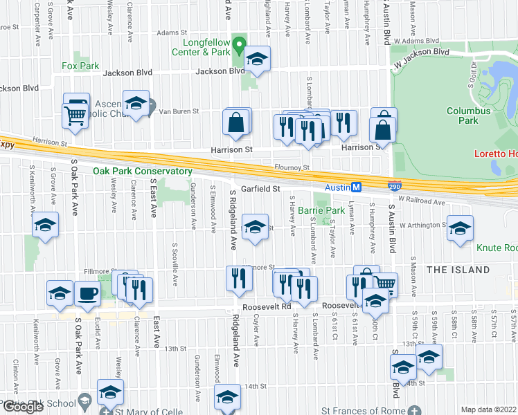 map of restaurants, bars, coffee shops, grocery stores, and more near 1022 South Cuyler Avenue in Oak Park