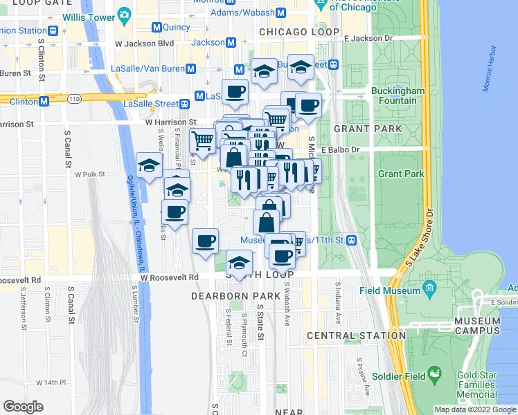 map of restaurants, bars, coffee shops, grocery stores, and more near South State Street & West 9th Street in Chicago