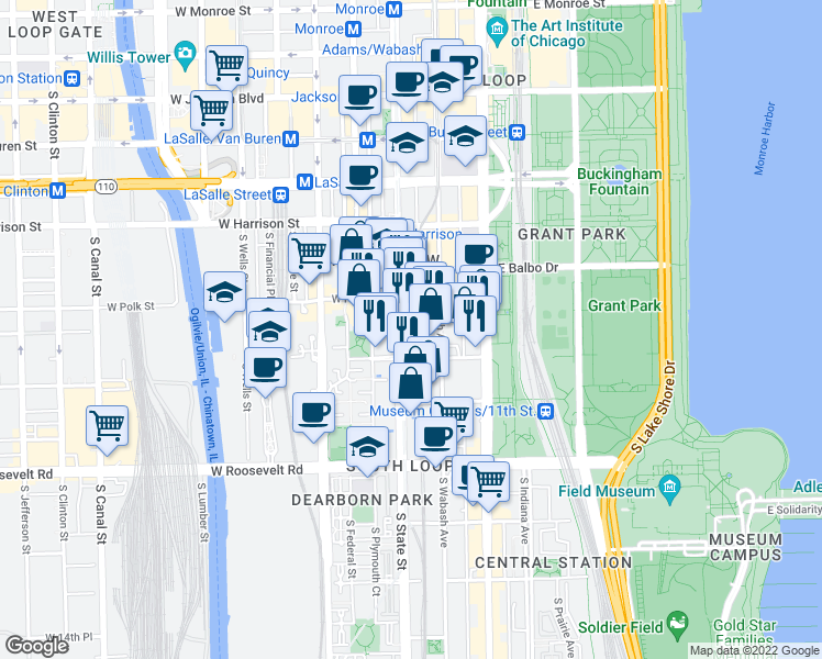 map of restaurants, bars, coffee shops, grocery stores, and more near 8 East 9th Street in Chicago