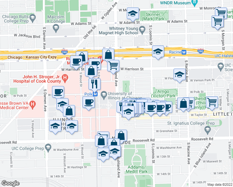 map of restaurants, bars, coffee shops, grocery stores, and more near South Ashland Avenue & West Polk Street in Chicago