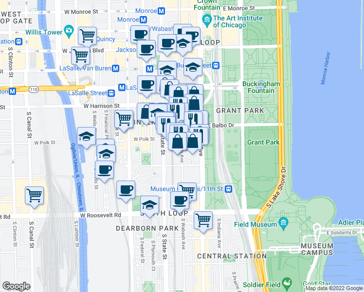 map of restaurants, bars, coffee shops, grocery stores, and more near East 8th Street in Chicago