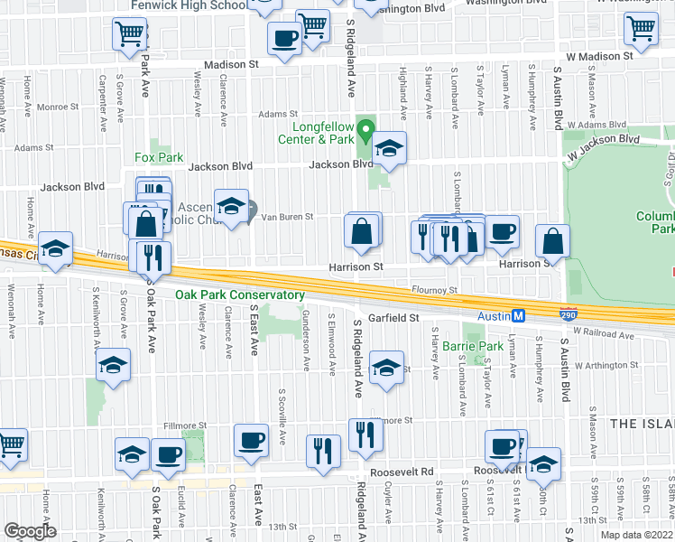 map of restaurants, bars, coffee shops, grocery stores, and more near 419 Harrison Street in Oak Park