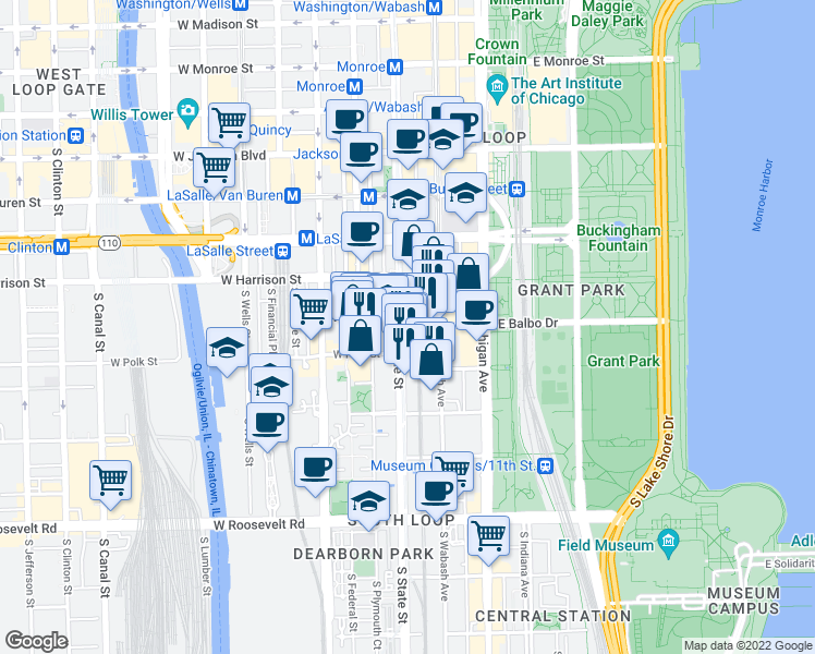 map of restaurants, bars, coffee shops, grocery stores, and more near 1 East Balbo Avenue in Chicago