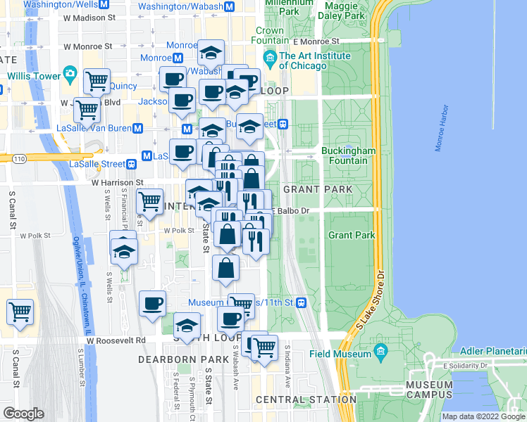 map of restaurants, bars, coffee shops, grocery stores, and more near South Michigan Avenue & East Balbo Avenue in Chicago
