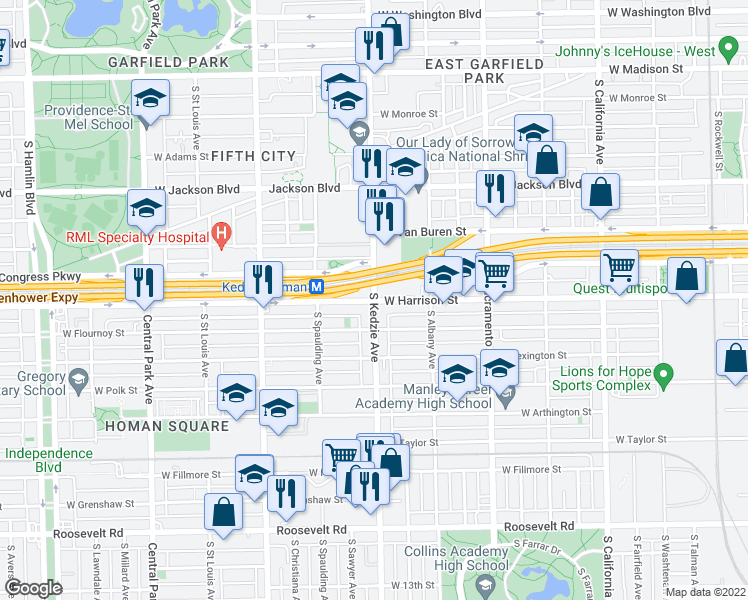 map of restaurants, bars, coffee shops, grocery stores, and more near S Kedzie Ave in Chicago