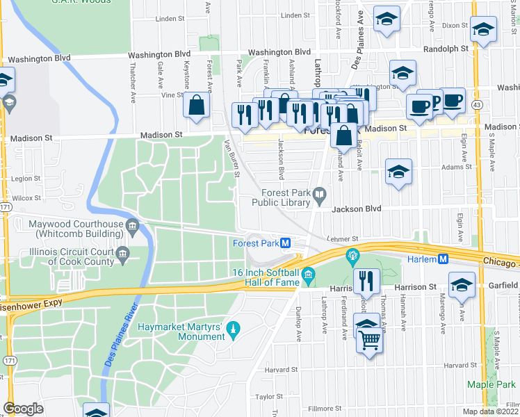 map of restaurants, bars, coffee shops, grocery stores, and more near Grove Ln in Forest Park