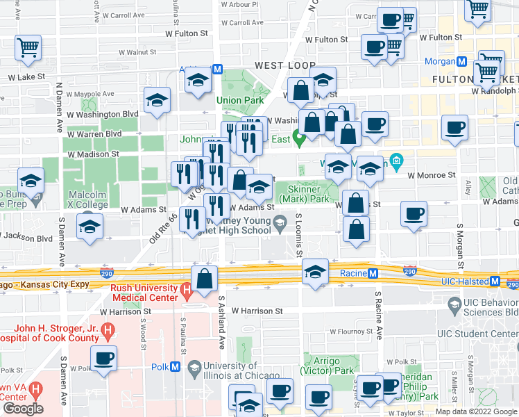 map of restaurants, bars, coffee shops, grocery stores, and more near 200 South Laflin Street in Chicago