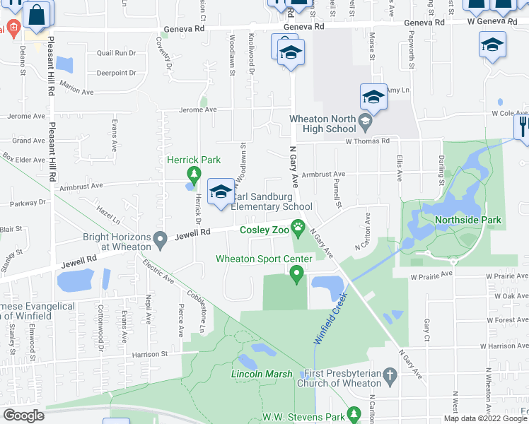 map of restaurants, bars, coffee shops, grocery stores, and more near 1107 Falcon Court in Wheaton