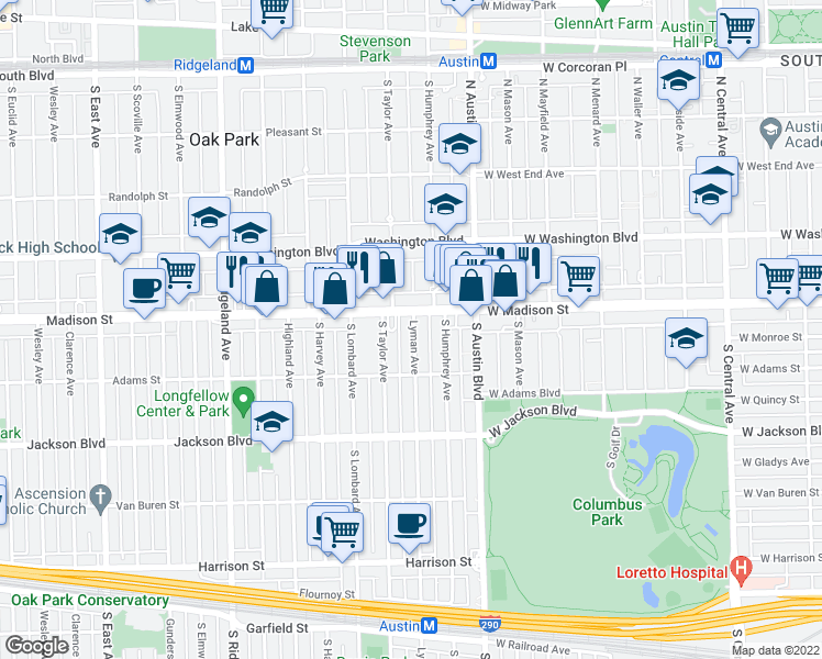 map of restaurants, bars, coffee shops, grocery stores, and more near 523 Lyman Avenue in Oak Park