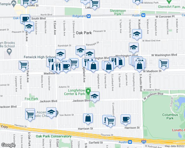 map of restaurants, bars, coffee shops, grocery stores, and more near 510 South Cuyler Avenue in Oak Park