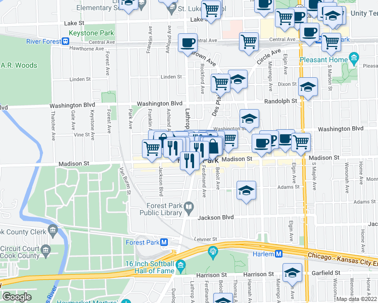 map of restaurants, bars, coffee shops, grocery stores, and more near Lathrop Avenue in River Forest